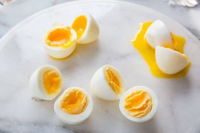 Instant Pot Hard Boiled Eggs in a marble background