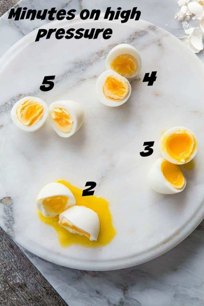 different looks of Instant Pot Egg depending on minutes of pressure
