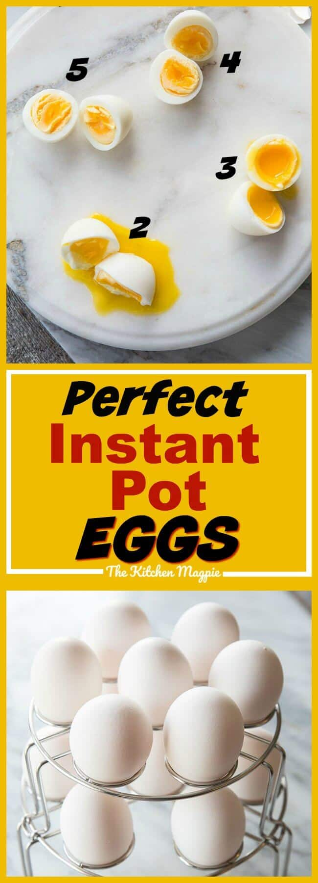 How to make your perfect egg in the Instant Pot, whether it's soft boiled, medium boiled or hard boiled! There's an egg for everyone! #instantpot #recipe #eggs #yolks #howto #pressurecooker #pressurecooking