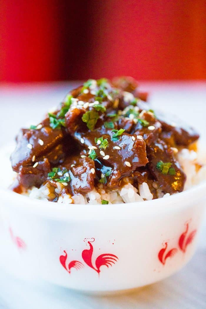 close up Instant Pot Mongolian Beef