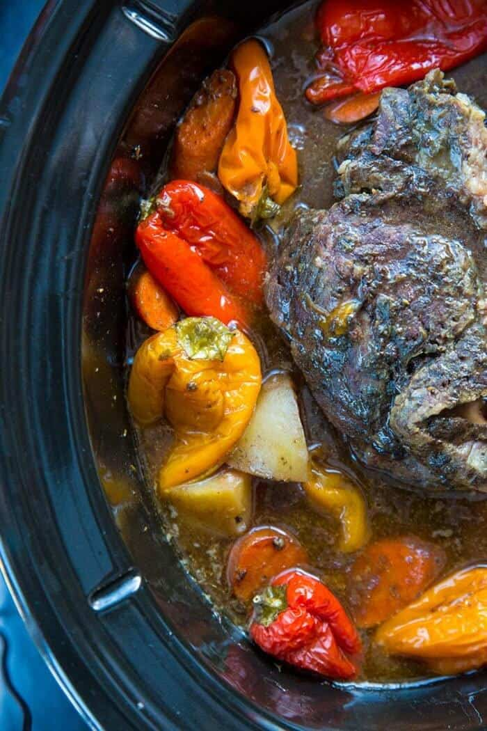 roast in the bottom of slow cooker with water and surrounded with all the vegetables