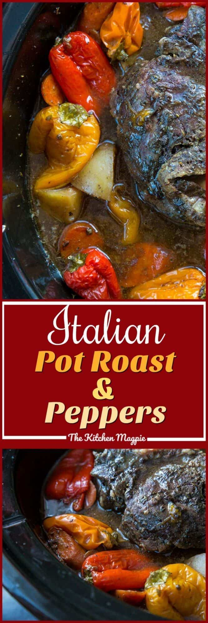 If you love sweet peppers and Italian spices, then this Slow Cooker Italian Pot Roast & Peppers is for you! #roastbeef #slowcooker #italian #peppers #recipe #dinner #supper