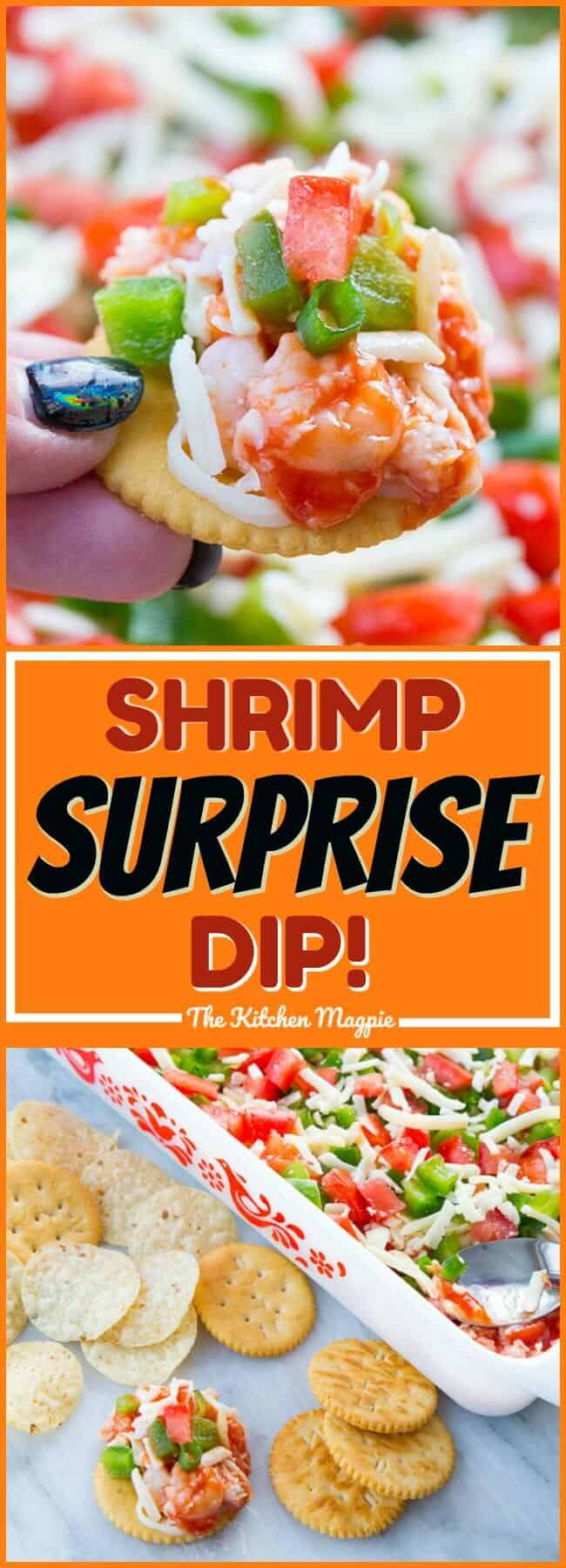 Shrimp Surprise Spread - The Best Shrimp Dip Ever! This dip or spread is perfect for entertaining - especially on Game Day! #dip #recipe #shrimp