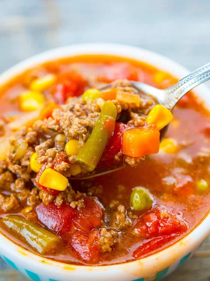 Close up of Simple Classic Hamburger Soup with mixed vegetables