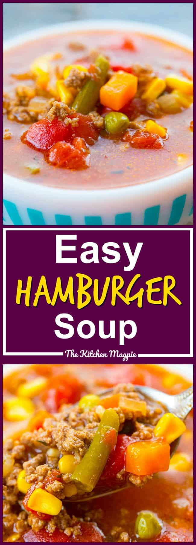 This easy to make and classic hamburger soup has been a dinnertime staple for decades now! #recipe #soup #instantpot #hamburger #recipe #dinner #supper #slowcooker