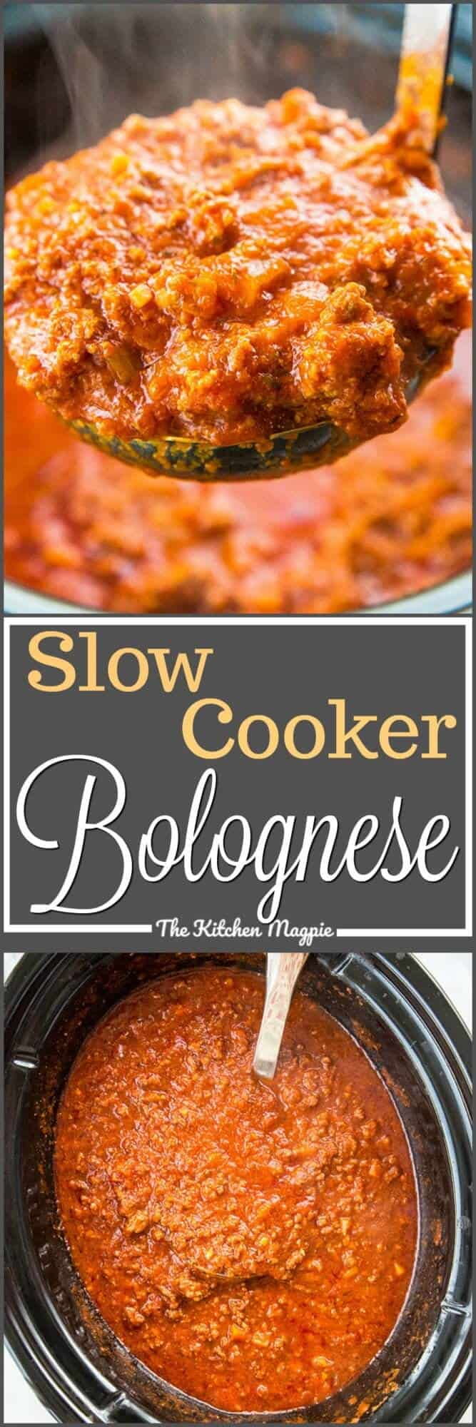 This dreamy slow cooker Bolognese sauce will be a family favourite! It cooks all day long and you end up with a velvety sauce that will change the way you think about sauces! Recipe from @kitchenmagpie