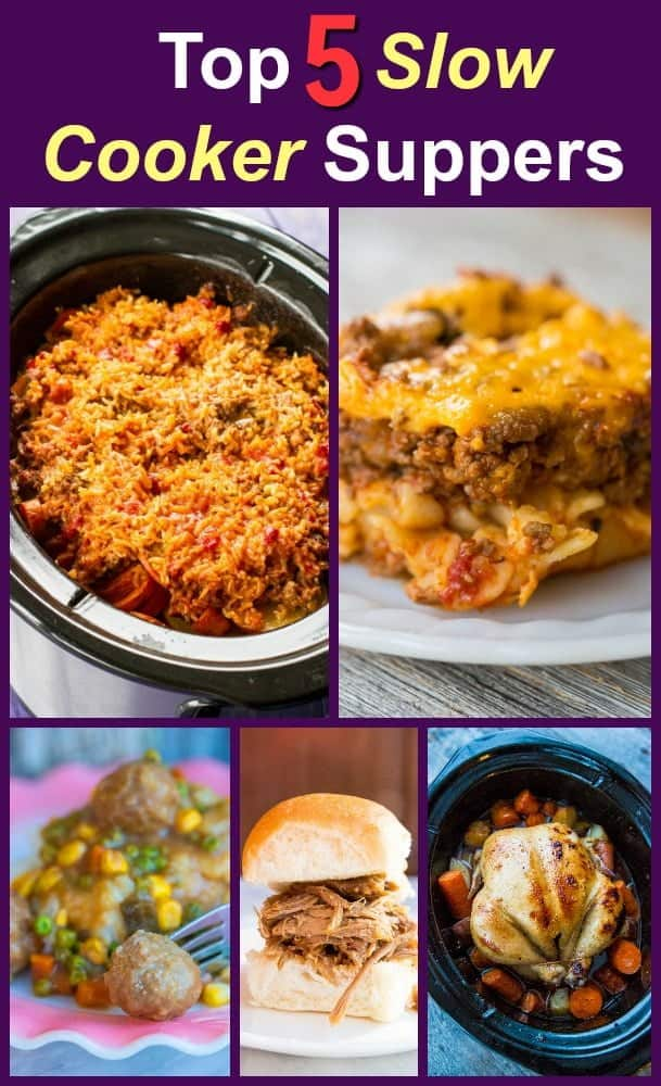 Collage of the top 5 slow cooker dinners from the past year