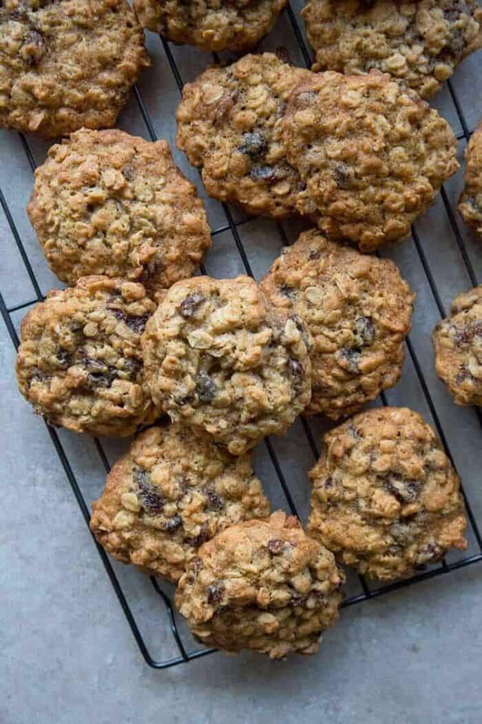 Top down shot of Quaker Vanishing Oatmeal Raisin Cookies