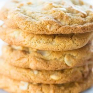 close up stack of Macadamia Nut Cookies