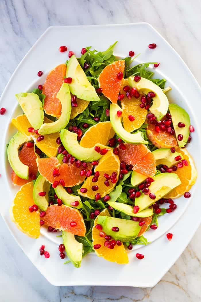 Winter Citrus Avocado Salad - citrus, avocado, pomegranate and arugula
