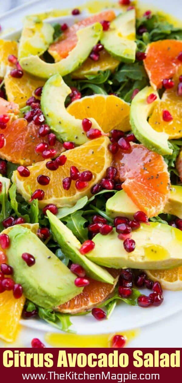 Winter Citrus Avocado Salad - citrus, avocado, pomegranate and arugula. #salad #avocado #pomegranate