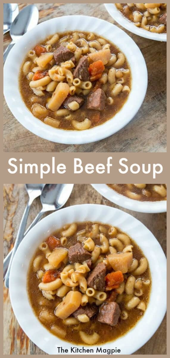 How to make a simple Beef Macaroni Soup with beef stewing meat #soup #beef #macaroni