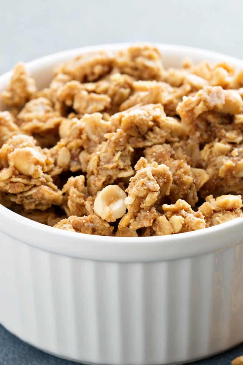 Close up of Granola Clusters in White Ramekins