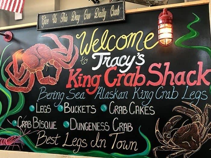 Tracy's Crab Shack Menu on Wall