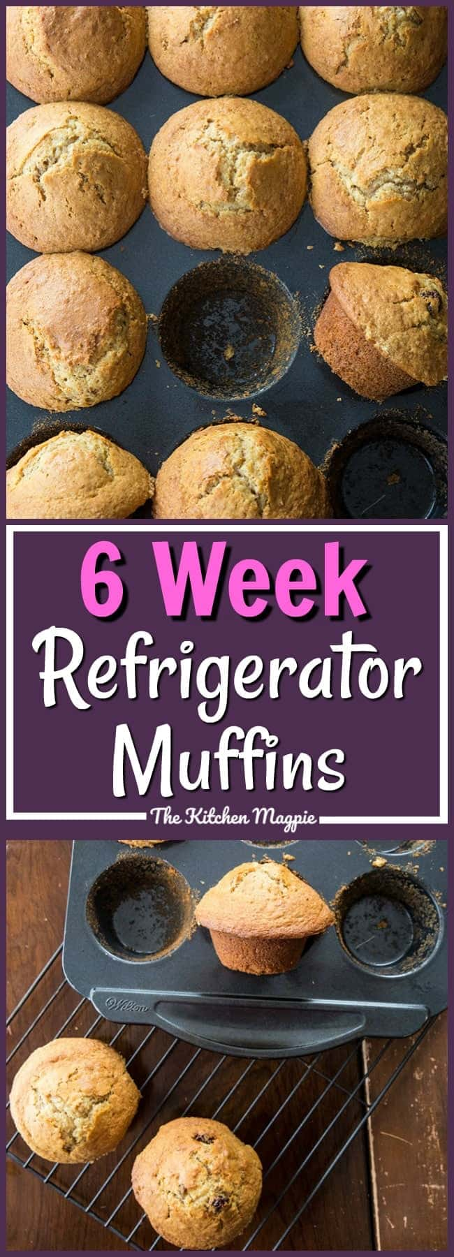 Six Week Raisin Bran Refrigerator Muffins from @kitchenmagpie. My mom kept this batter in a huge lidded Tupperware bowl or ice cream pail in the fridge! Who else's mom had this in the fridge when they were kids? #recipe #branmuffins #muffins #breakfast #family