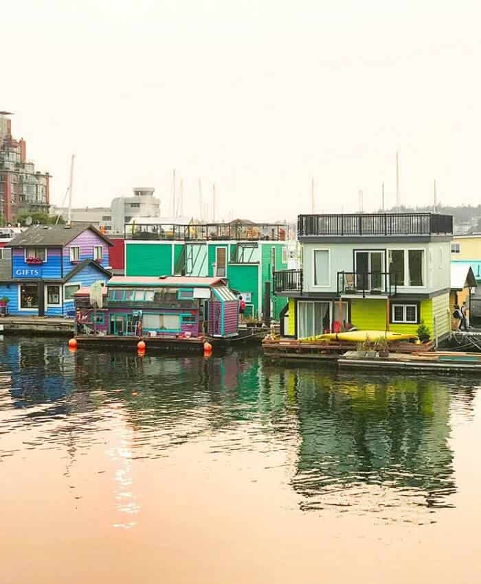 wharf at Victoria, British Columbia with colorful establishments