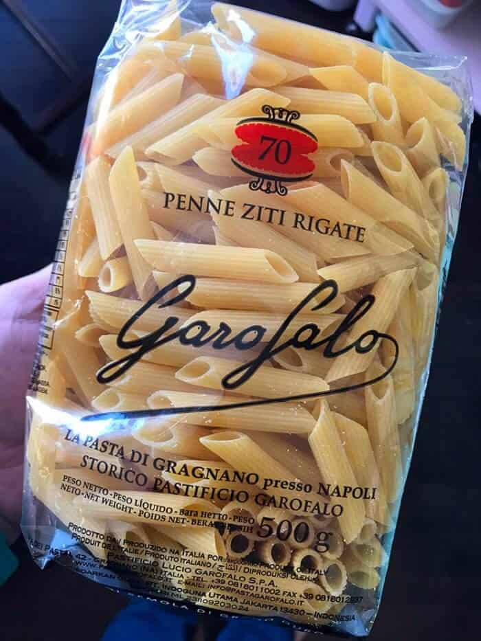 a pack of uncooked ziti pasta