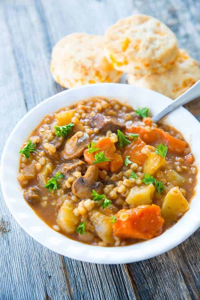 Hearty and delicious beef and barley stew, perfect for a comforting dinner at the end of the day.