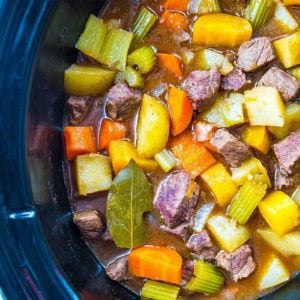 close up Crock Pot Beef Stew