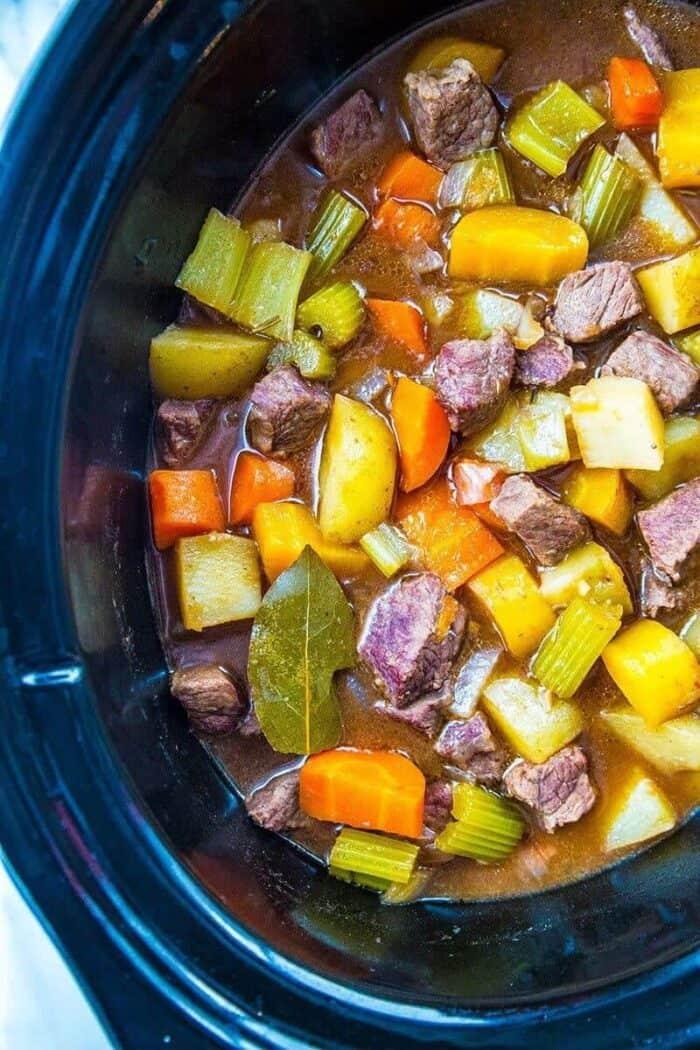 crockpot beef stew in black crockpot