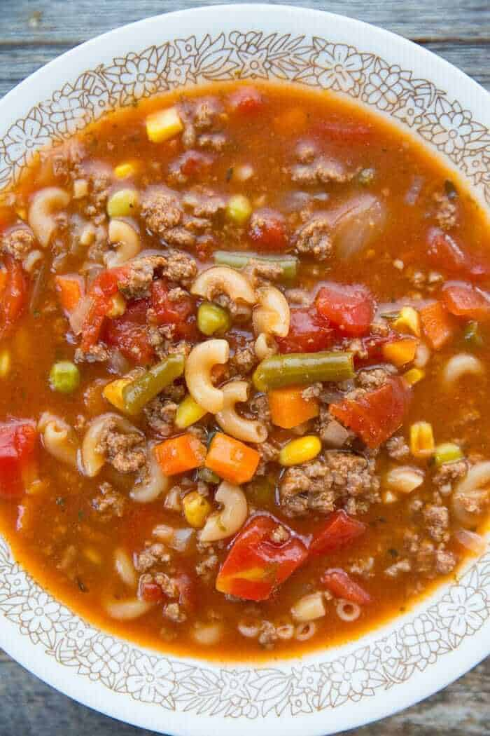 Close up of Hamburger Soup With Elbow Macaroni and Vegetables in a Soup Bowl