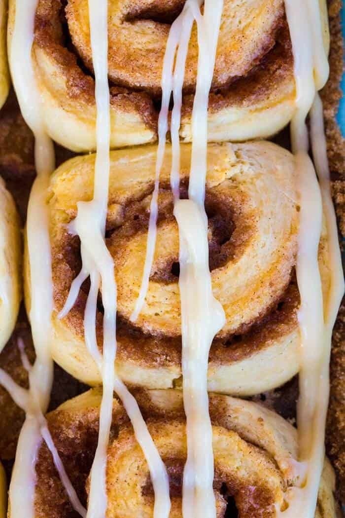 Top down shot of No Rise Cinnamon Rolls with Cinnamon Roll Icing Glaze