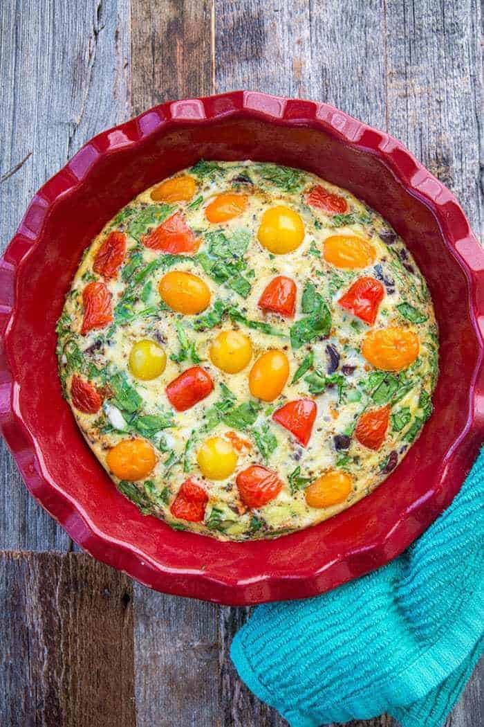 This Mediterranean Vegetable Frittata Recipe is perfect for those of you eating healthier! You don't have to be following the Mediterranean diet to enjoy this!
