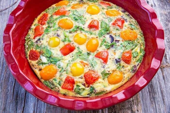 Mediterranean Vegetable Frittata in Large Red Bowl