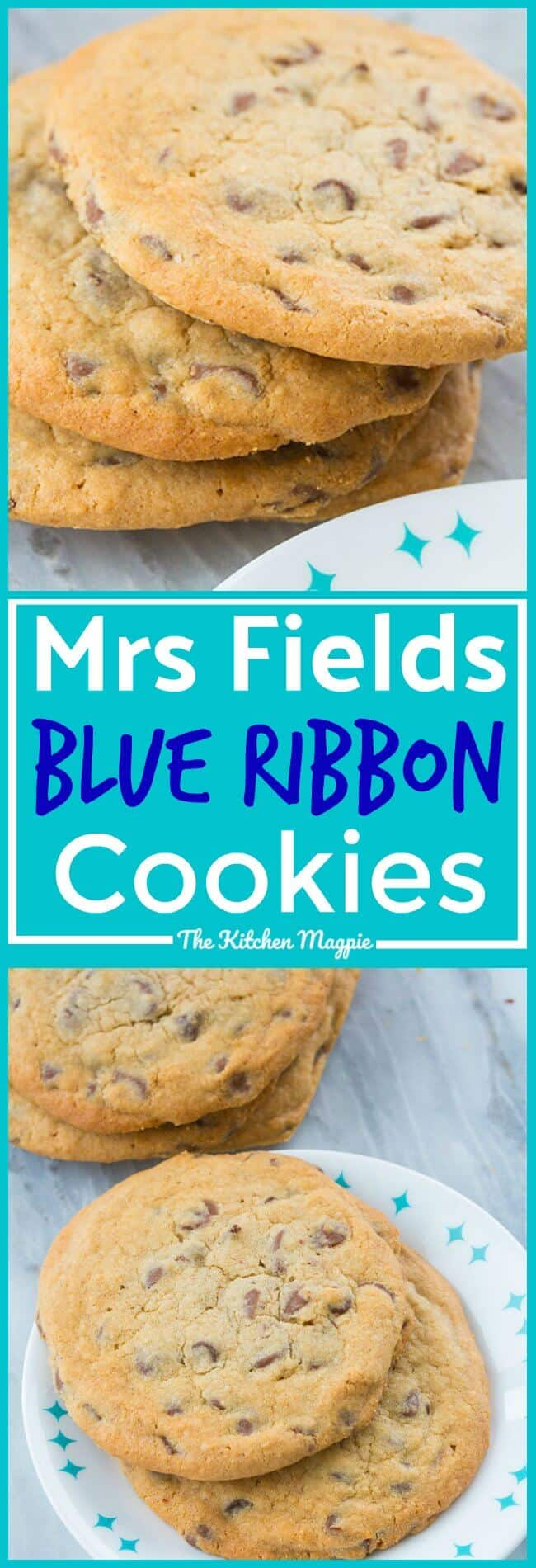 The secret to these Mrs Fields Blue Ribbon Chocolate Chip Cookies is the dark brown sugar! This recipe is the original Blue Ribbon cookies! #cookies #chocolate #desserts #chocolatechipcookies
