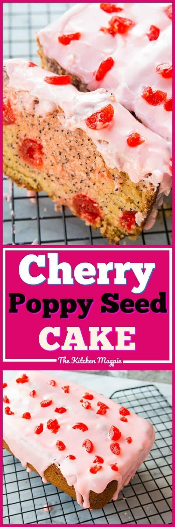 This Cherry Poppy Seed Loaf Cake is such a beautiful burst of flavour and colour in the middle of winter! The best part? It uses maraschino cherries that are cheap, cheerful and available year round so you can make this 365 days a year! #dessert #cake #cherrycake #icing #glaze #cherry