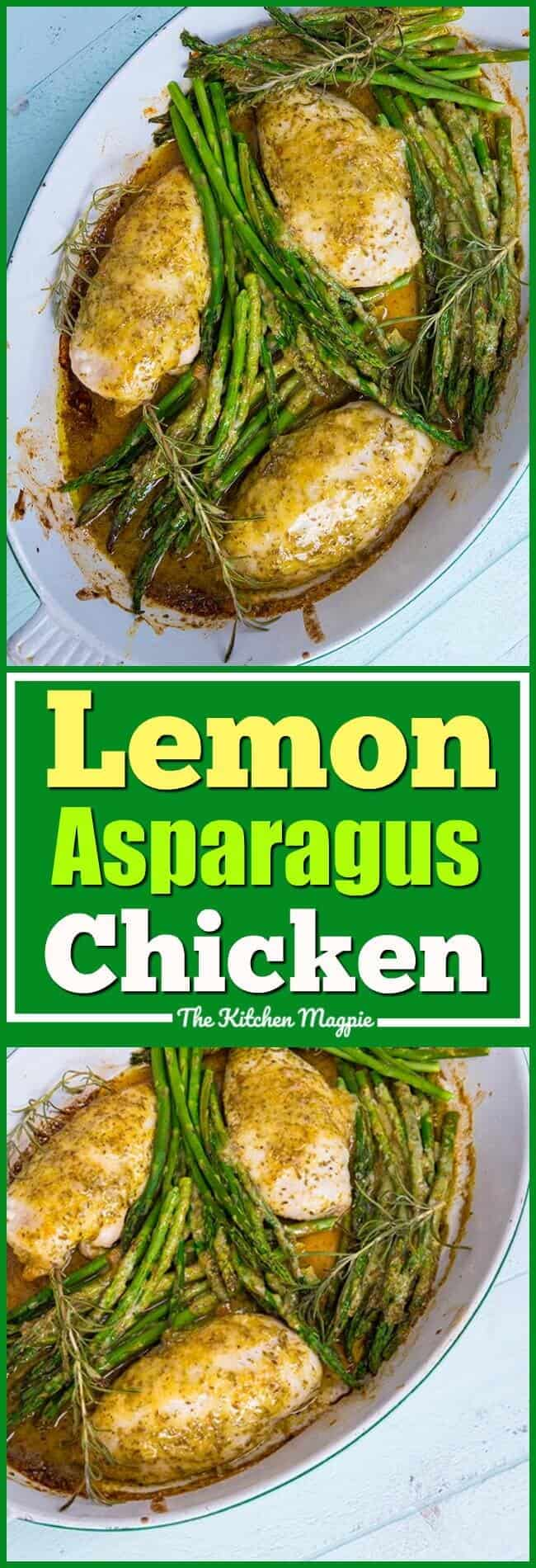 This Rosemary Lemon Chicken & Asparagus Dinner is sure to be a hit with the family! The fresh tang of lemon paired with rosemary and garlic is perfect for both the chicken AND the asparagus! #recipe #asparagus #lemon #chicken #healthy