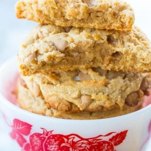 Close up Stack of Chewy Peanut Butter Cookies in a white Bowl with strawberry print