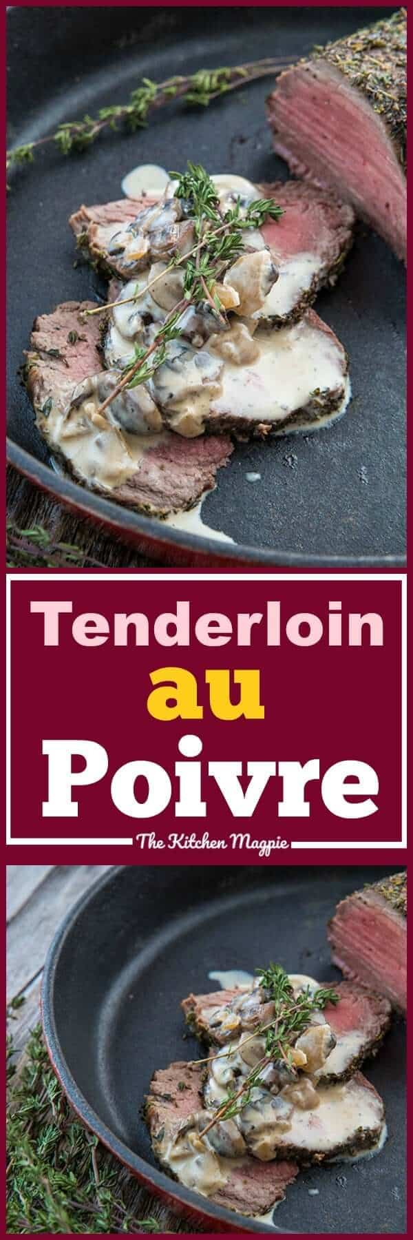 This Skillet Tenderloin Roast au Poivre & Mushrooms takes the classic French Steak au Poivre and uses a pepper and salt encrusted tenderloin roast instead. #beef #roast #french #pepper #cognac #skillet