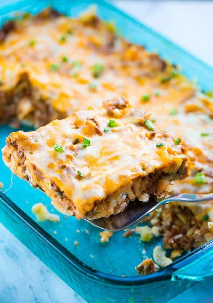 a slice of Sour Cream Ground Beef Noodle Casserole