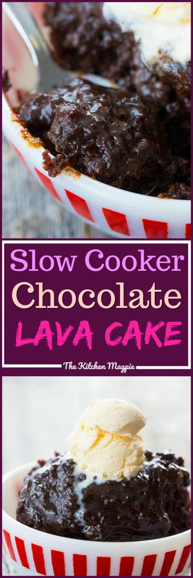 Death By Chocolate Slow Cooker Lava Cake! This is honestly the best slow cooker lava cake you are ever going to make thanks to a secret ingredient! #crockpot #slowcooker #cake #deathbychocolate #chocolatecake #dessert