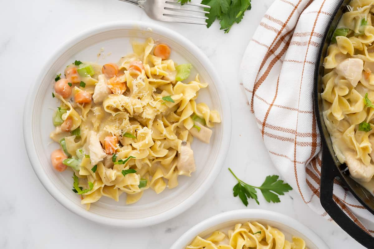 Chicken and Noodles with vegetables in a white plate