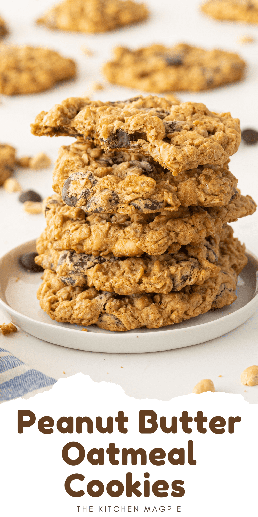 Peanut Butter Oatmeal Cookies loaded with chocolate chips and salty peanuts for a fantastic cookie treat!