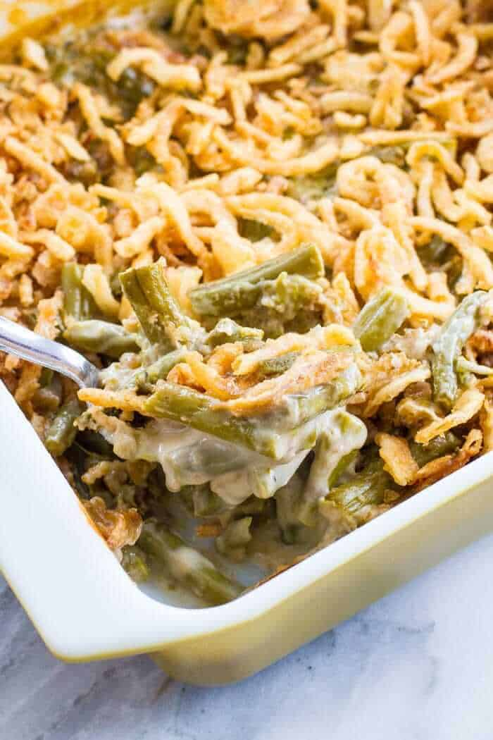 Asparagus Green Bean Casserole with crunchy fried onions