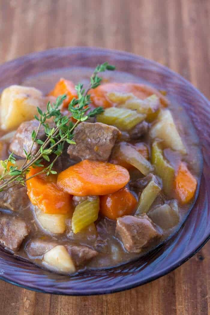 Beef Stew with Red Wine in Purple bowl