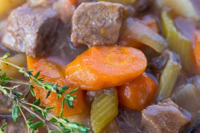 close up Beef Stew with Red Wine with fresh thyme
