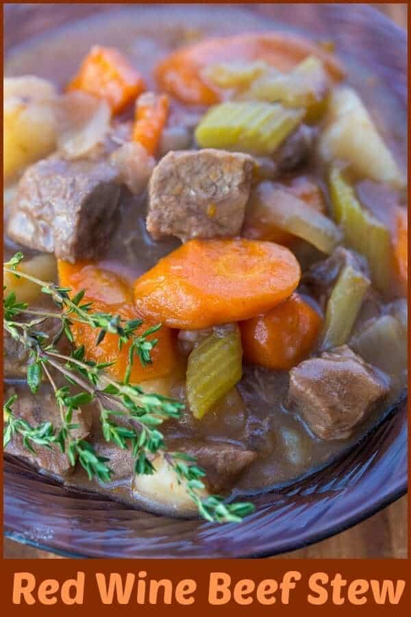 Red wine gives this beef stew a delicious flavour boost, while the tender beef and vegetables make this a hearty meal. #stew #soup #beef #redwine #recipe #slowcooker #crockpot #vegetables #winterfood