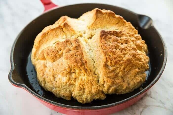 Irish Soda Bread in Large Red Skillet