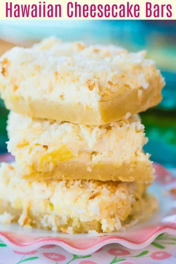 The old fashioned Hawaiian Cheesecake Bars have a shortbread crust followed by a pineapple cheesecake layer, topped with buttery toasted coconut!#pineapple #hawaiian #dessert #bars #squares #coconut #baking #cheesecake #creamcheese