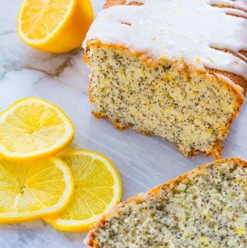 Lemon Poppy Seed Loaf Cake with Lemon Glaze