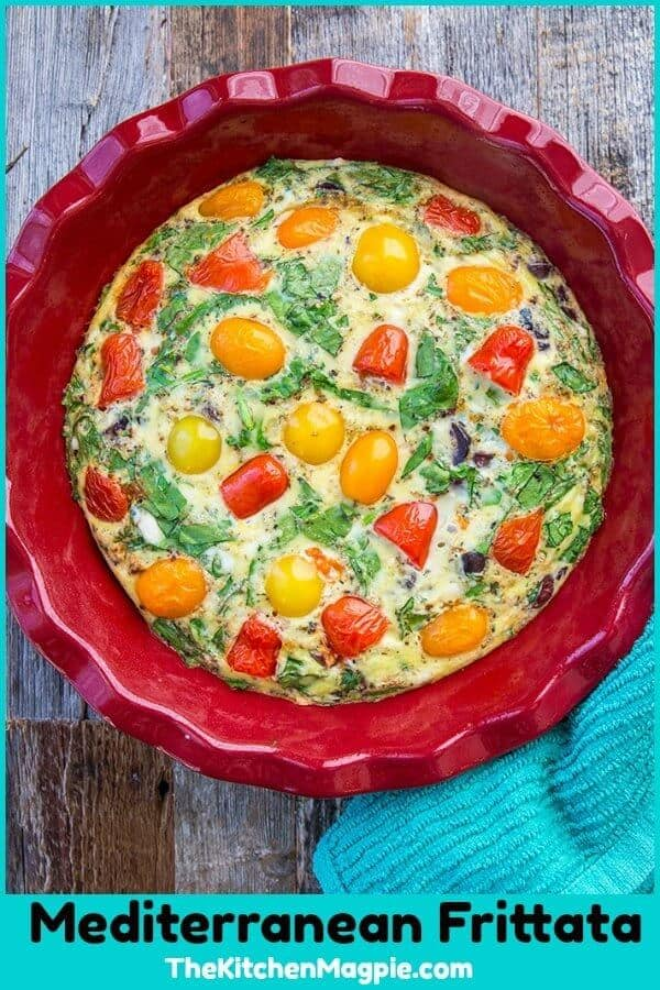This Mediterranean Vegetable Frittata Recipe is perfect for those of you eating healthier! You don't have to be following the Mediterranean diet to enjoy this! #frittata #breakfast #recipe #eggs #mediterranean #healthy #vegetarian #brunch
