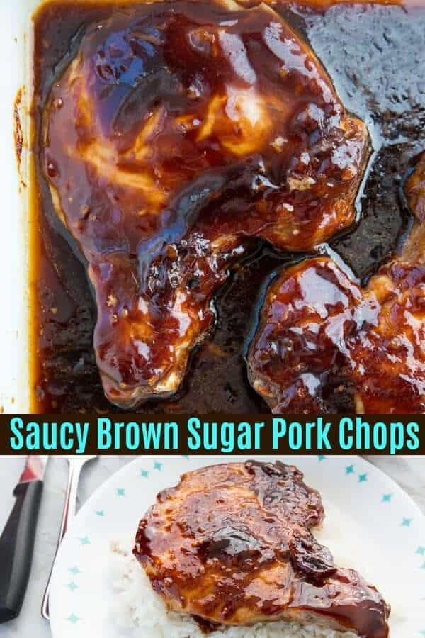 Saucy Brown Sugar Baked Pork Chops are a fast, easy and delicious way to bake pork chops! The entire family will love them! #pork #porkchops #porkchop #recipe #dinner #supper #baked #familyfriendly