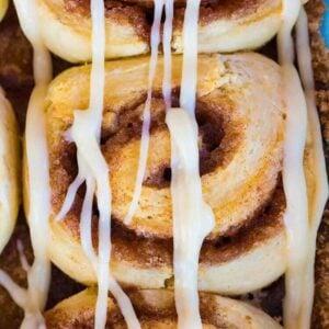 Cinnamon Roll with Cinnamon Roll Icing Glaze on Top