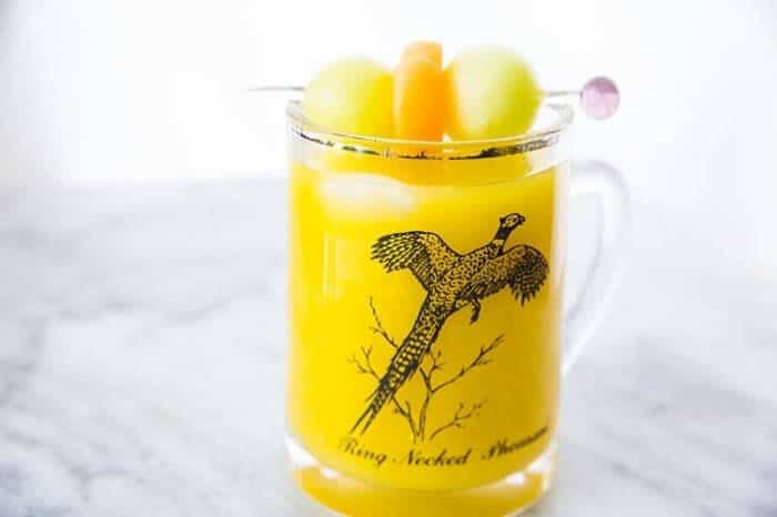 Vodka Melon Ball Cocktail in a Ring Necked Pheasant Glass Mug