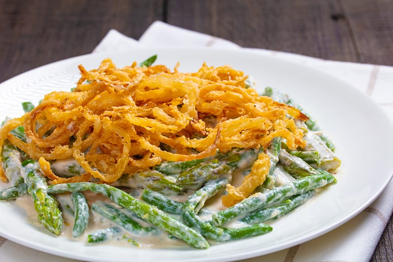 Asparagus Green Bean Casserole in a white plate