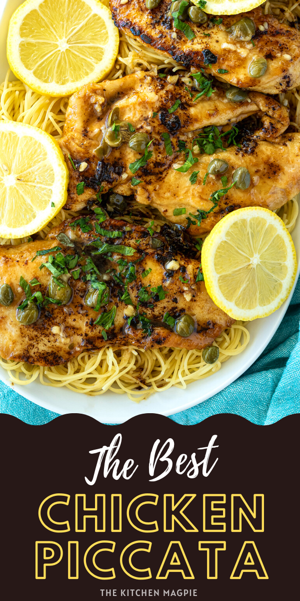 Crispy coated chicken breasts are cooked in a white wine, lemon and caper sauce and served over angel hair pasta. #lemon #chicken #piccata #pasta